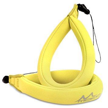 MoKo Wasserdichte Kamera Schwimmer Handschlaufe - (2-Stück) Schwimmende Armtrageschlaufe Float Strap für Ihre Unterwasserkamera, GoPro, Nikon, Olympus, Canon, Panasonic Lumix,Gelb