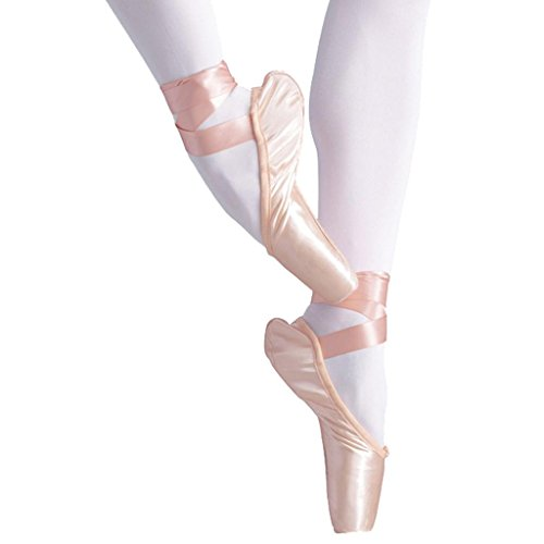 Byjia Ballet Pointe Chaussures pour Les Filles/Femmes en Rose avec des Orteils Libres Coussinets Et Rubans De Satin De Base Yoga Classique Strappy