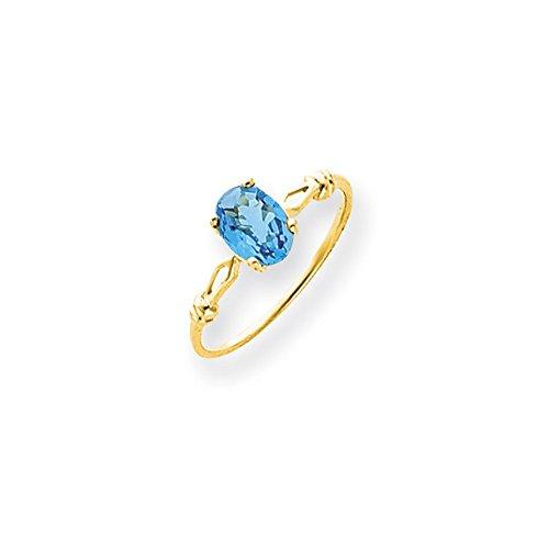 14ct 7x 5Oval Blau Topas Ring