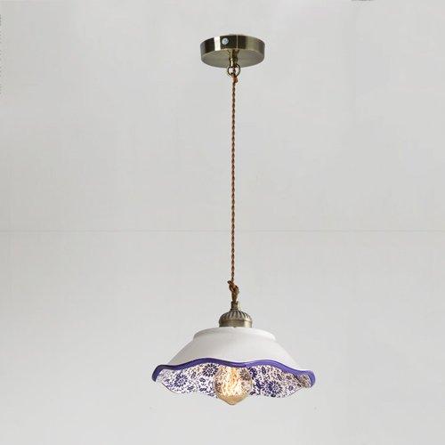 KMYX Vintage Antiken Pendelleuchte Chinesischen Stil Blauen und Weißen Porzellan Kronleuchter für Restaurant Bekleidungsgeschäft Schlafzimmer Deckenleuchten 110 ~ 240 V ( Color : Style B ) (Kronleuchter Blau)