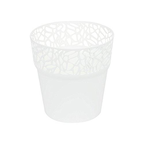Rond cache-pot 14.5 cm NATURO plastique romantique style en blanc