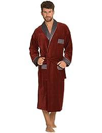 Hommes Classic Confortable Robe De Chambre Longue En Coton Chaud Robe Ceinturee
