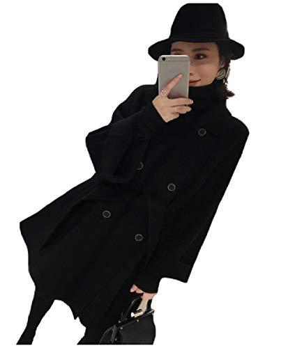 CuteRose Women Classics Double-Breasted Long Draped Belt Jackets PEA Coat Black XXS -