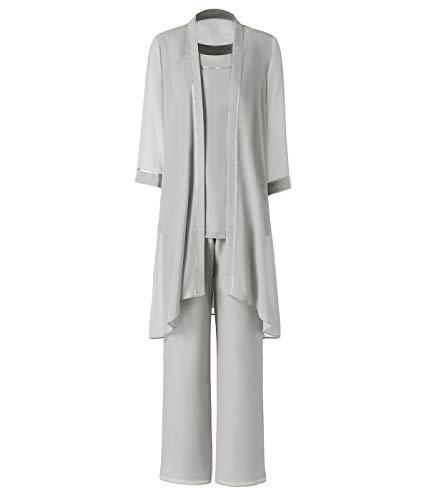 Pretygirl Damen 3 Stück Satin Chiffon Kleid für die Brautmutter Hose mit Jacke Outfit für Hochzeit Bräutigam(US 18 Plus, Silber Grau)