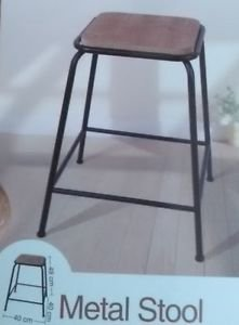 LIFE DECO Grand Tabouret Industriel DE Bar Bois ET Metal Chaise Haute Design