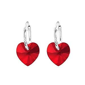 Monkimau Damen Ohrringe Herz Ohrhänger aus 925 Sterling Silver echt Silber mit Swarovski Kristallen