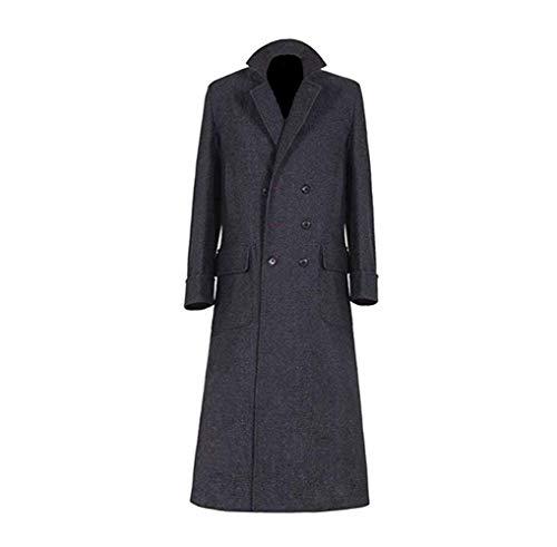 Holmes Schwarz Wolle Blend Trench Lange Jacke Cosplay Kostüm für Männer (XS, Farbe 1)
