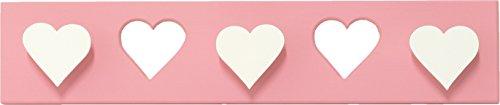 AFAEPS Sonpó Online - Modelo AFA14 - Perchero triple infantil de pared Hecho a mano de manera artesanal - Color rosa y blanco