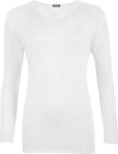 WearAll - T-shirt simple à manches longues - Hauts - Femmes - Grandes tailles 40 à 54 Blanc