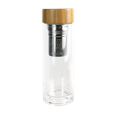 SAVEUR ET Degustation KA2117 Infuseur Double Paroi Bouchon, Bambou + Verre, Marron, 7,2 x 7,2 x 21,3 cm