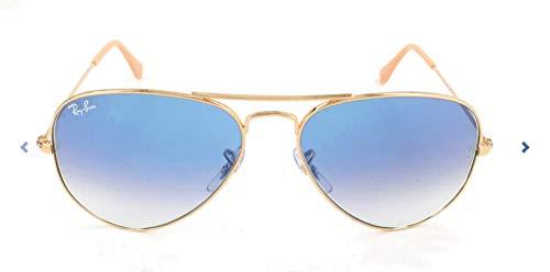 Ray-Ban Unisex Sonnenbrille Aviator, (Gestell: Gold, Gläserfarbe: hellblau verlauf 001/3F), Large (Herstellergröße: 55)