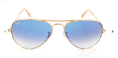 Ray Ban Unisex 0Rb3025 Aviator Large Metal Aviator Sonnenbrille, Blau (Gestell: Gold, Gläser: Kristall Hellblau Verlauf)