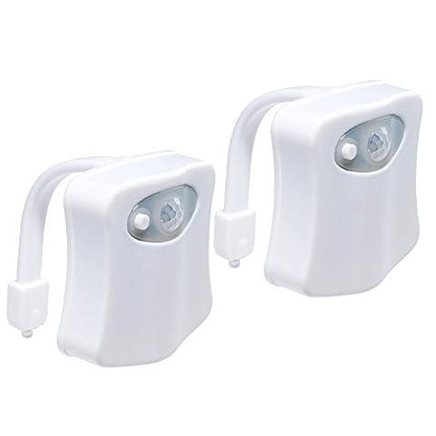 LED Toilette Licht | Bunte menschliche Körper Auto Bewegung Aktivierte Toilette Nacht Lampe | Zwei Modi mit 8 Farbwechsel - Sensor LED Badezimmer Waschraum Nachtlicht - Passend für die meisten Toilette - 2 (Gfci Steckdose)