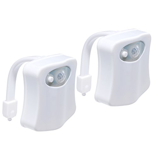 LED Toilette Licht | Bunte menschliche Körper Auto Bewegung Aktivierte Toilette Nacht Lampe | Zwei Modi mit 8 Farbwechsel - Sensor LED Badezimmer Waschraum Nachtlicht - Passend für die meisten Toilette - 2 Pack