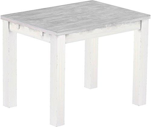 Brasilmoebel Esstisch Rio Classico 100 x 73 cm - Pinie Massivholz Farbton Beton - Weiß - in 27 Größen und 50 Farben - über 1000 Varianten -...