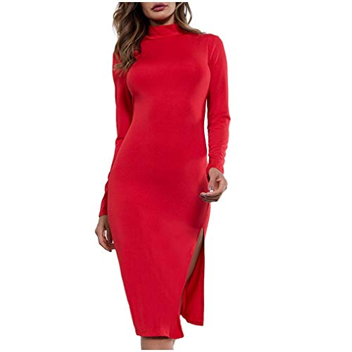 NAIHEN DAMEN Dress Long Sleeve Underwear Open Forked Buttocks Sexy Slimming Clothes Rotes Kleid -