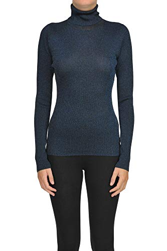 Phillip Lim 3.1 Ribbed Lurex Knit Turtleneck Pullover Woman Navy Blue S int.