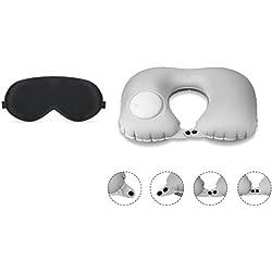 Novago - Maschera da Sonno e da Viaggio, 100% Pura Seta Naturale + 1 Cuscino da Viaggio Gonfiabile, Confortevole e Leggero