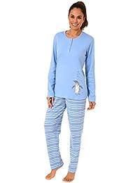 b5bda97f6b9828 Creative by Normann Damen Pyjama lang in Kuschel-Interlock-Qualität mit  süssen Pinguin Motiv