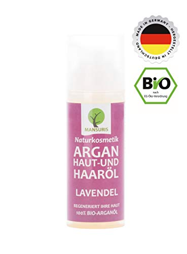 Bio Arganöl Lavendel | Pflegeöl kaltgepresst für Haare, Körper, Haut & Gesicht - Vegan & ungeröstet 100% natürliches Körperöl, Hautöl für strahlende straffe Haut & Anti Falten Pflege 50ml