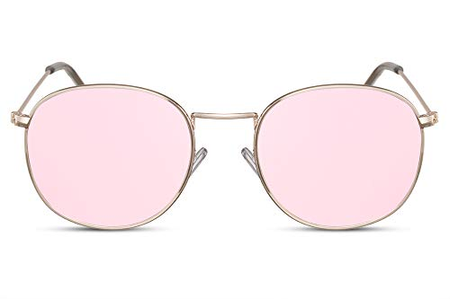 Sonnenbrille John Lennon Kostüm - Cheapass Sonnenbrille Rund Rosé-Gold Verspiegelt UV-400 Oval John-Lennon Festival-Brille Metall Damen