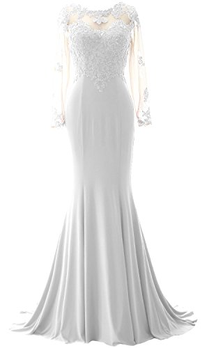 MACloth Elegant Mermaid Long Sleeve Prom Dress Jersey Wedding Party Formal Gown white