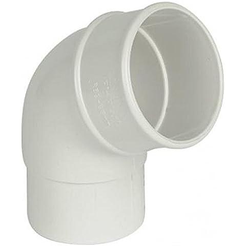 FLOPLAST 68 mm, per tubi da grondaia, 112 gradi Gomito di scarico, colore: bianco