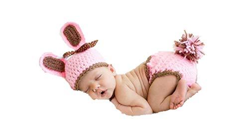 Matissa Neugeborenes Baby Mädchen/Jungen häkeln Stricken Kostüm Fotografie Prop Outfits (Rosa Kaninchen 3) - Stricken Kaninchen
