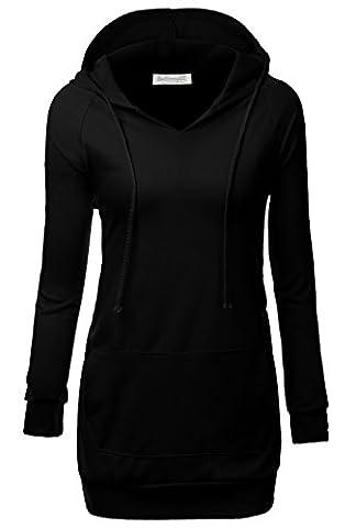 BAISHENGGT - Femme Veste a Capuche Manches longues Sweat-shirt Pull-over Noir X-Large