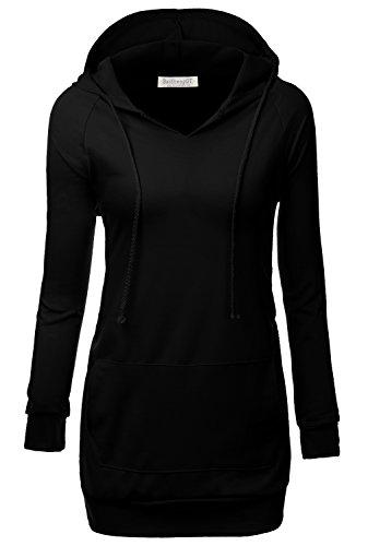BAISHENGGT - Femme Veste a Capuche Manches longues Sweat-shirt Pull-over Noir