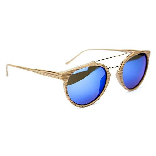 Occhiali da sole unisex effetto legno uomo donna marca isurf (eefetto legno specchio blu)