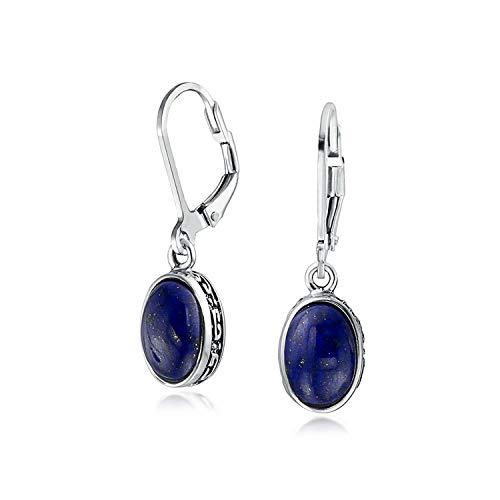 Bali Stil 3Ct Ovale Kuppel Blau Lapis Lazuli Edelstein Lünette Tropfenohrring Baumeln Ohrringe Für Damen Sterling Silber