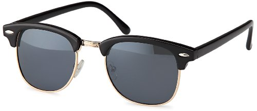 Vintage Sonnenbrille im angesagten 60er Browline-Style mit markantem Halbrahmen in Schwarz- und Leopardenoptik, auch für schmalere Gesichter (schwarz)