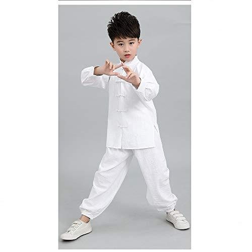 FHKL Kampfsportkleidung Für Kinder Chinesischen Stil Tai Chi Kleidung Schulgruppe Leistungstraining Trainingsanzug,White-160cm