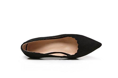 VogueZone009 Femme Tire à Talon Haut Suédé Couleur Unie Pointu Chaussures Légeres Noir