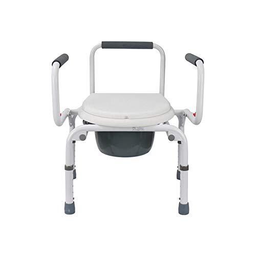 XKRSBS Höhenverstellbares WC Rollstuhl Nachttisch mit WC und Dusche Badesessel Holunder Klappstuhl Wasserdicht -