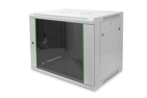 DIGITUS Netzwerk-Schrank 19 zoll 9 HE - Wandmontage - 450 mm Tiefe - Traglast 60 kg - Dynamic Basic - Glastür - Grau - Server-raum-racks