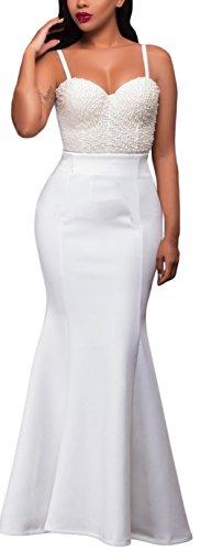EOZY Jupe Femme Fermeture Éclair Maxi Pan Queue de Poisson Blanc
