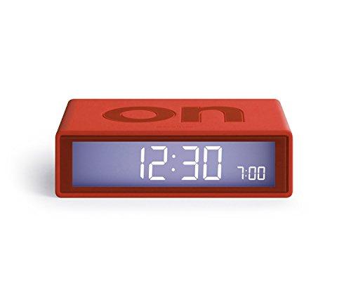 Lexon Flip 2 - Despertador con Pantalla LCD, Color Rojo