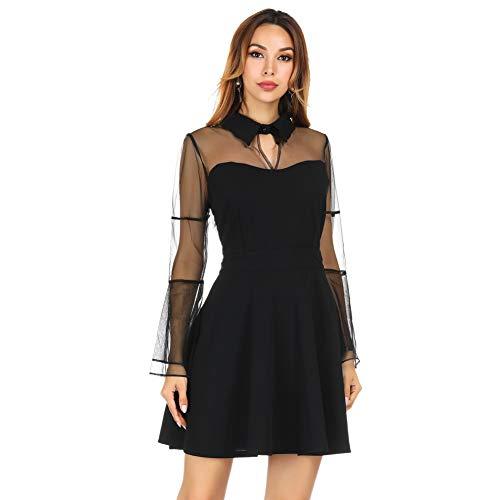 FeelinGirlKleid Maxikleid Retro Boho Kleid Rundhalskleider Halloween Kostüm Langarm Kleid Renaissance Gotisch Kleider