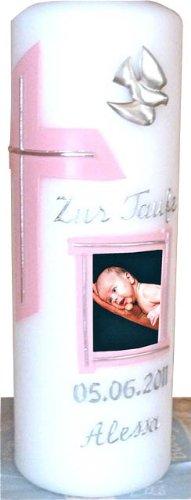 Taufkerze mit Namen, Babyfoto & Datum für Mädchen oder Jungs in Rosa, Lila oder Babyblau