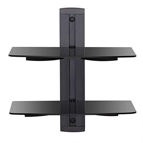 Regal 2-stufig Schwimmende Regale Einstellbar Schwarze Komponentenregale zum Set-Top-Boxen Kabelboxen DVD TV-Wandhalterungen (Schwarzes Finish Bücherregal)