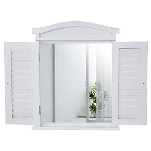 Neue Antik-weiß Lackiert Holz (Mendler Wandspiegel Spiegelfenster mit Fensterläden 53x42x5cm ~ weiß lackiert)