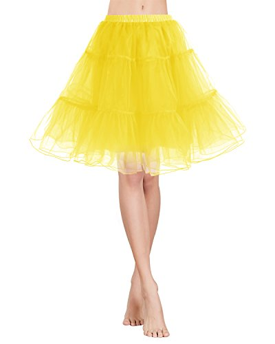 Gardenwed Vintage Damen 1950er Rockabilly Mini Tutu Kleid Retro Petticoat Unterrock Yellow S