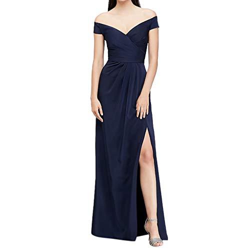 MRULIC Damen Vintage Prinzessin Schulterfrei Cocktail V-Ausschnitt Party Aline Abendkleid Partykleid Lang Maxi-Kleid für Shows