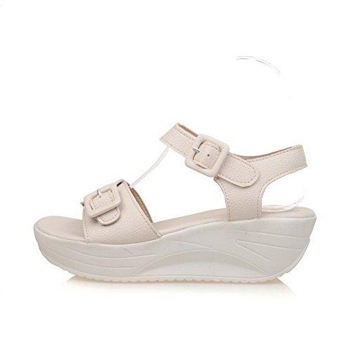 VogueZone009 Donna Puro Tacco Medio Punta Aperta Luccichio Fibbia Heeled-Sandals Beige