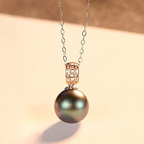 XPDX.ZB@ Pearls Anhänger 18 Karat Gold Halskette für Damen - Hochwertige AAAA Meerwasser Weiß Akoya/Tahiti Schwarz Perlen aus 18 kt Gold Perlenkette,18 Karat Goldkette ist kostenlos enthalten,Black