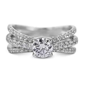 Damen-Ring 14 Karat (750) Weißgold 18 Karat (750) Moissanit 1,70 Karat (585) Ringgröße I P K L J H G N