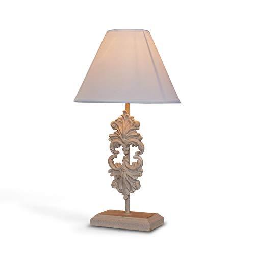 Loberon Tischlampe Riva, MDF, Polyresin, Baumwolle, Terylene, H/B/T 46/25 / 25 cm, creme, E27, max. 60 Watt, A++ bis E (Schlafzimmer Messing-tisch-lampen Für)