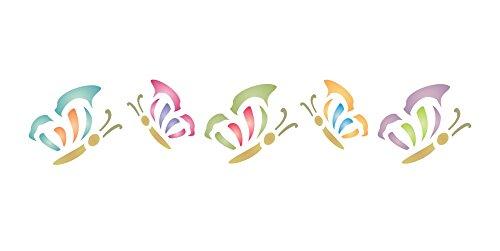 Schmetterling Schablone,-16,5x 3cm-wiederverwendbar Tier Insekt Bug Bordüre-Vorlage, auf Papier Projekte Scrapbook Tagebuch Wände Böden Stoff Möbel Glas Holz usw.